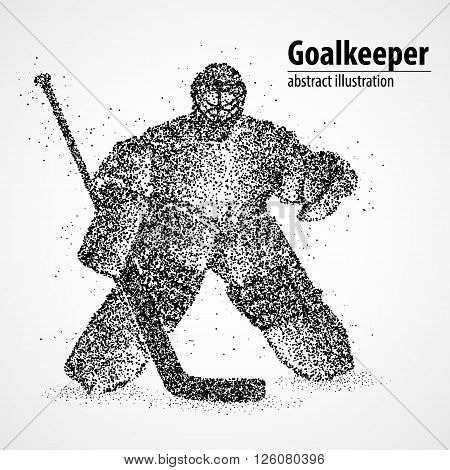 Abstract hockey goalkeeper of the black circles. Vector illustration.