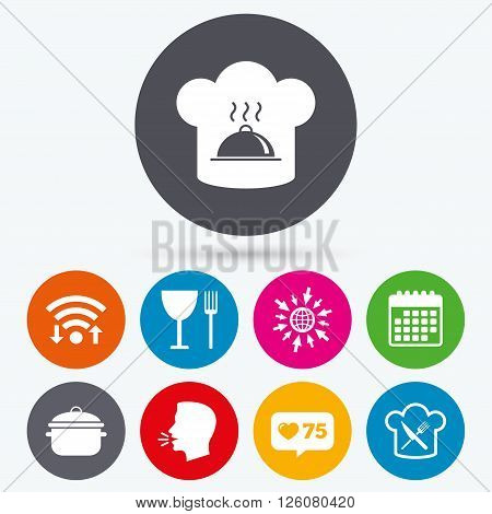 Wifi, like counter and calendar icons. Chief hat and cooking pan icons. Crosswise fork and knife signs. Boil or stew food symbols. Human talk, go to web.