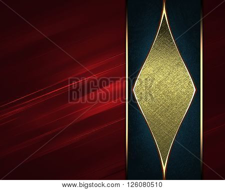 Red Background With A Gold Ornament. Template For Design. Copy Space For Ad Brochure Or Announcement