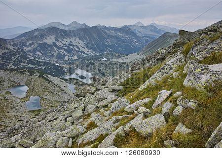 Amazing view to Valyavishki lakes  from Dzhangal Peak, Pirin mountain, Bulgaria