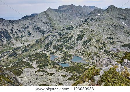 Panoramic view to Valyavishki lakes  from Dzhangal Peak, Pirin mountain, Bulgaria