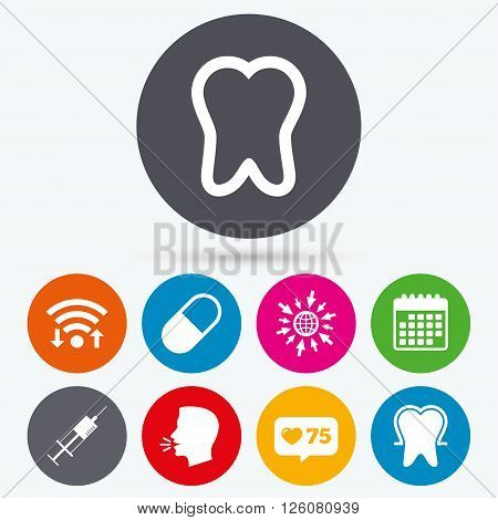 Wifi, like counter and calendar icons. Tooth enamel protection icons. Medical syringe and pill signs. Medicine injection symbol. Human talk, go to web.