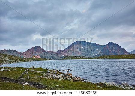 Twilight over Kamenitsa Peak And Tevno lake, Pirin Mountain, Bulgaria