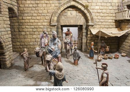 Badajoz Spain - January 4 2013: Three Magic Kings have come to Bethlehem. Diorama built by Local Association of Friends of Cribs Badajoz 2013