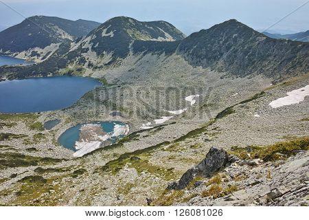 Kremenski lakes, view form Dzhano peak, Pirin Mountain, Bulgaria