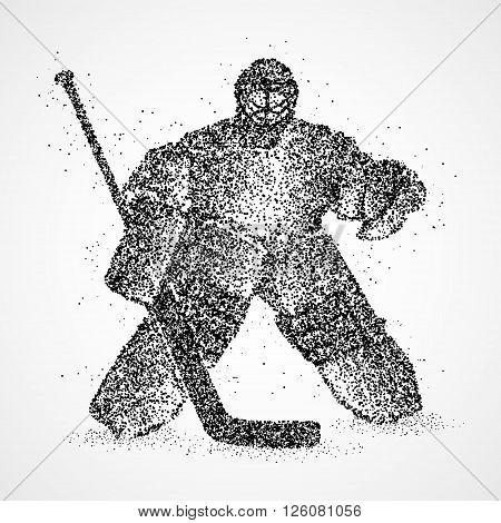 Abstract hockey goalkeeper of the black circles. Photo illustration.