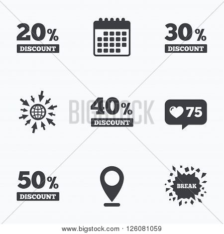 Calendar, like counter and go to web icons. Sale discount icons. Special offer price signs. 20, 30, 40 and 50 percent off reduction symbols. Location pointer.
