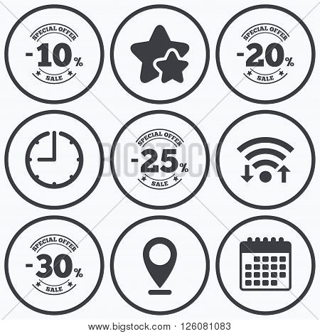 Clock, wifi and stars icons. Sale discount icons. Special offer stamp price signs. 10, 20, 25 and 30 percent off reduction symbols. Calendar symbol.