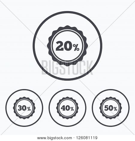 Sale discount icons. Special offer stamp price signs. 20, 30, 40 and 50 percent off reduction symbols. Icons in circles.
