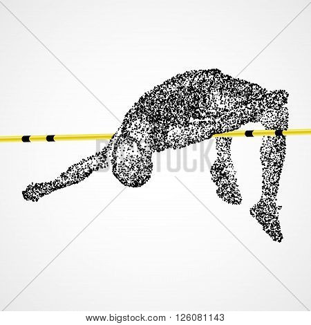 Abstract The athlete jumps in height of the black circles. Photo illustration.