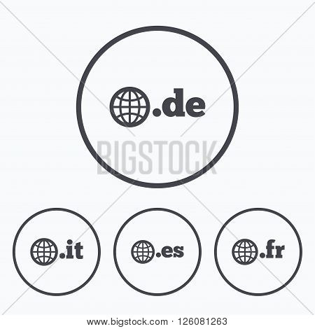 Top-level internet domain icons. De, It, Es and Fr symbols with globe. Unique national DNS names. Icons in circles.