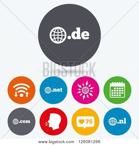 Wifi, like counter and calendar icons. Top-level internet domain icons. De, Com, Net and Nl symbols with globe. Unique national DNS names. Human talk, go to web.