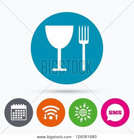 Wifi, Sms and calendar icons. Eat sign icon. Cutlery symbol. Fork and wineglass. Go to web globe.