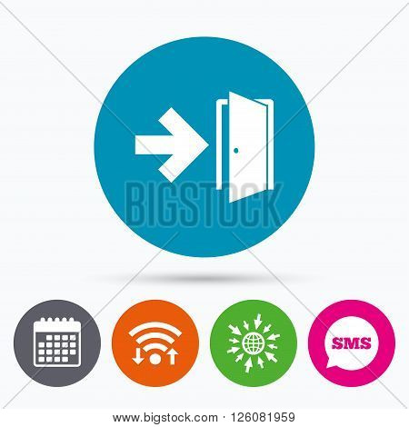 Wifi, Sms and calendar icons. Emergency exit sign icon. Door with right arrow symbol. Fire exit. Go to web globe.
