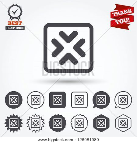 Enlarge or resize icon. Full Screen extend symbol. Circle and square buttons. Star labels and award medal. Thank you ribbon.