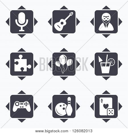 Icons with direction arrows. Game, bowling and puzzle icons. Entertainment signs. Casino, carnival and alcohol cocktail symbols. Square buttons.