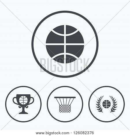 Basketball sport icons. Ball with basket and award cup signs. Laurel wreath symbol. Icons in circles.