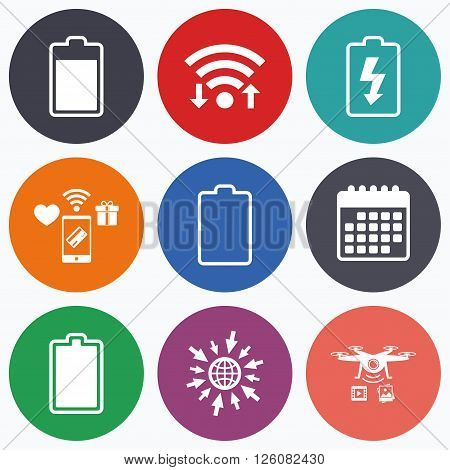 Wifi, mobile payments and drones icons. Battery charging icons. Electricity signs symbols. Charge levels: full, empty. Calendar symbol.