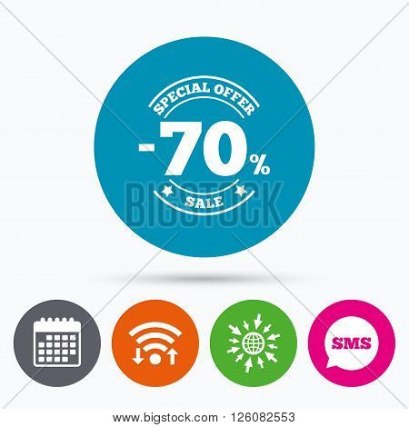 Wifi, Sms and calendar icons. 70 percent discount sign icon. Sale symbol. Special offer label. Go to web globe.