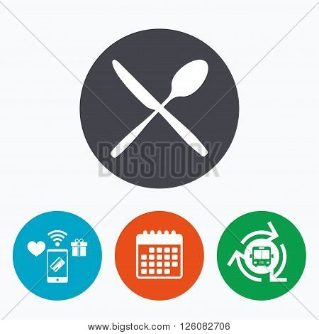 Eat sign icon. Cutlery symbol. Knife and spoon crosswise. Mobile payments, calendar and wifi icons. Bus shuttle.