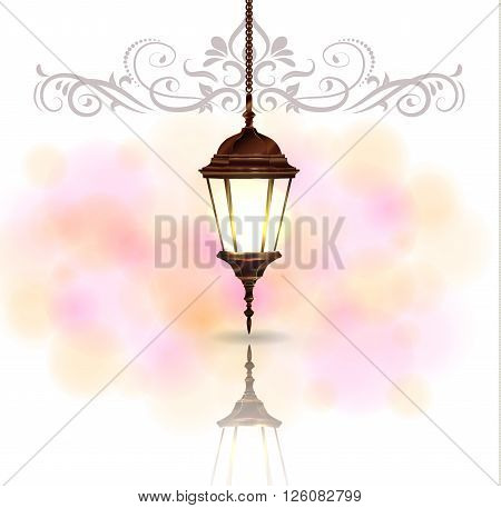 Intricate Arabic lamp with light for Ramadan Kareem and other events on a bokeh background