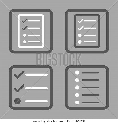List Items vector bicolor icon. Image style is a flat icon symbol inside a square rounded frame, dark gray and white colors, silver background.