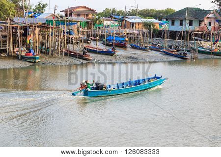 Shallow water fishing village in rural of Thailand