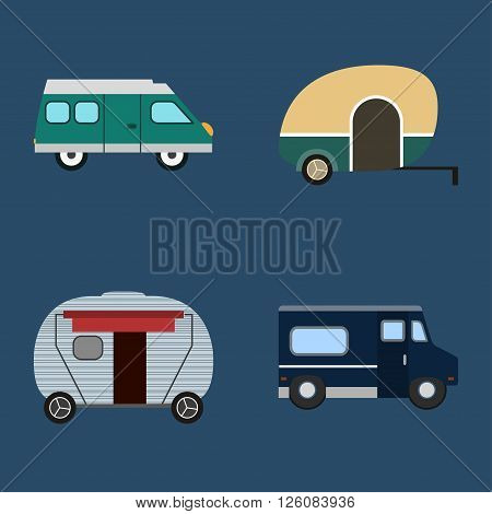 Set of vector images. Motorhome Different motorhomes for traveling. Flat design. Retro style. Motorhomes in different colors and shapes. Blue background
