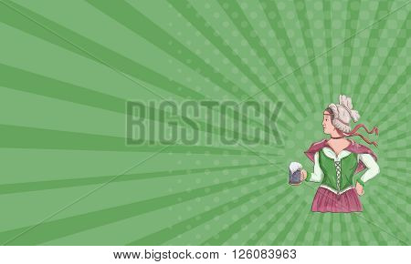 Business card showing Watercolor style illustration of a German barmaid wearing medieval renaissance costume dress holding a beer mug viewed from side set on isolated white background.