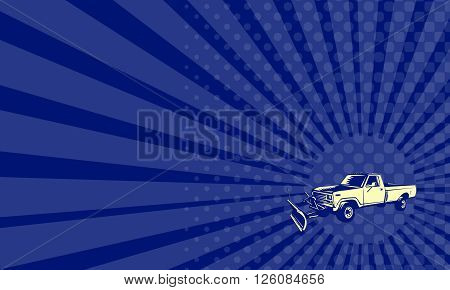 Business card showing illustration of a snow plow truck set on isolated white background done in retro woodcut style.