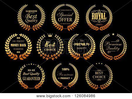 Premium quality guarantee golden laurel wreaths symbols with circle badges, composed from gold branches with stars, crowns and vignettes decorative elements. Retail, sale, promotion design usage