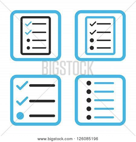 List Items vector bicolor icon. Image style is a flat icon symbol inside a square rounded frame, blue and gray colors, white background.