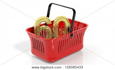 3D rendering of red shopping basket with golden 60% discount symbol, isolated on white.