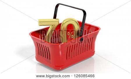3D rendering of red shopping basket with golden 70% discount symbol, isolated on white.