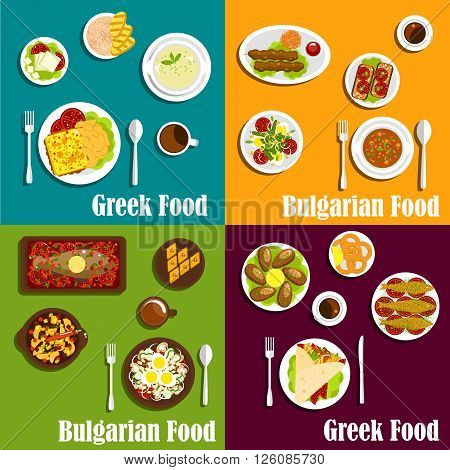 Rustic dishes of greek and bulgarian cuisine icons with gyro sandwiches and kebapche, various seafood, soups and vegetable salads, fried cheese, vegetarian appetizers and baklava filled with nuts and honey. Flat style
