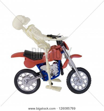 Skeleton Riding Red and Blue Motorcycle - path included