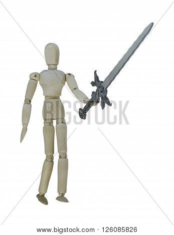Man holding up a heavy sword - path included