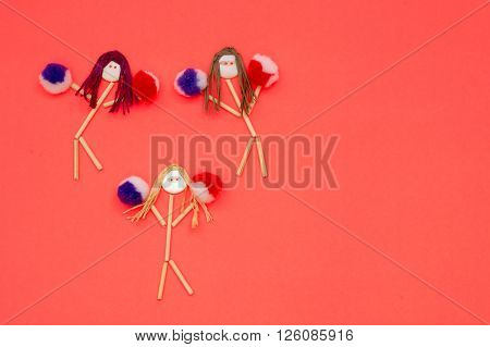 Cheerleader buttonhead stick figure girls purple and red pompoms