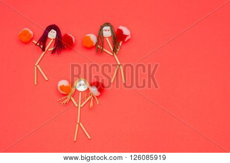 Cheerleader buttonhead stick figure girls orange and red pompoms