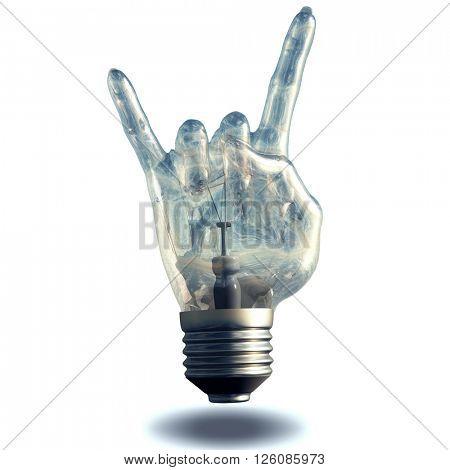 Rock n roll horns gesture light bulb 3D Render