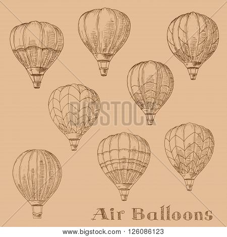 Retro sketches of hot air balloons flying in the sky. Engraving sketch drawings for romantic hobby, tourism, transportation theme design