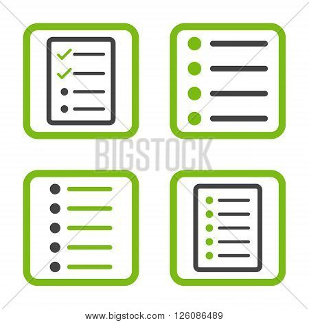 List Items vector bicolor icon. Image style is a flat icon symbol inside a square rounded frame, eco green and gray colors, white background.