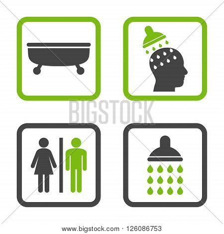 Sanitary vector bicolor icon. Image style is a flat icon symbol inside a square rounded frame, eco green and gray colors, white background.