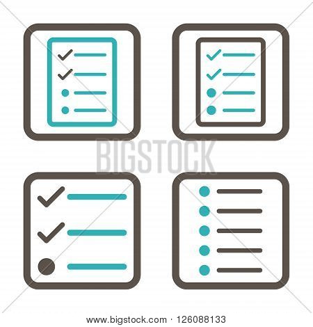 List Items vector bicolor icon. Image style is a flat icon symbol inside a square rounded frame, grey and cyan colors, white background.