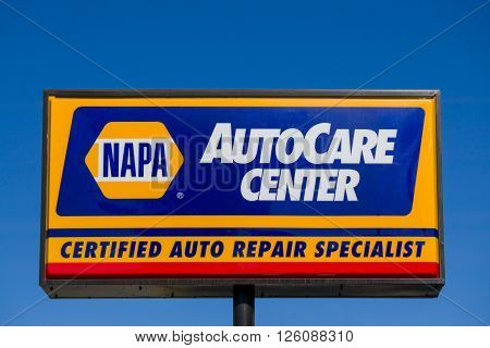PASADENA CA/USA - APRIL 16 2016: Napa Auto Care sign and logo. NAPA is an auto parts company in the United States.