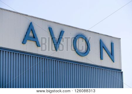 PASADENA CA/USA - APRIL 16 2016: Avon Corporation distribution center and logo. Avon Products Inc is an American international manufacturer and direct selling company in beauty products.