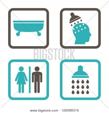 Sanitary vector bicolor icon. Image style is a flat icon symbol inside a square rounded frame, grey and cyan colors, white background.