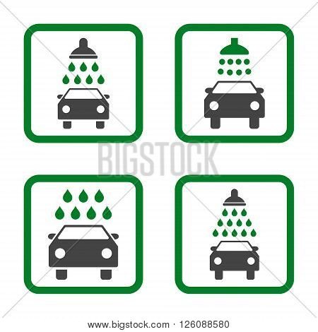 Carwash vector bicolor icon. Image style is a flat icon symbol inside a square rounded frame, green and gray colors, white background.