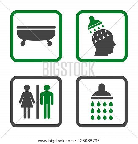 Sanitary vector bicolor icon. Image style is a flat icon symbol inside a square rounded frame, green and gray colors, white background.
