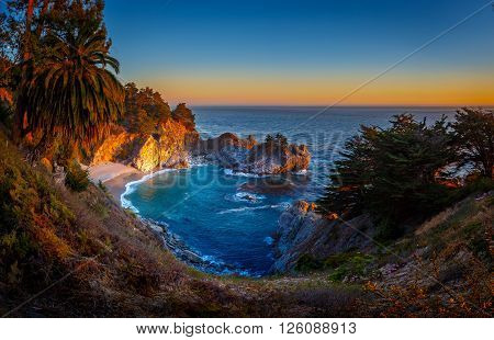 Sunset at McWay Falls Julia Pfeiffer State Burns Park California